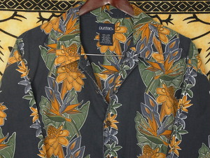 USA古着アロハシャツL紺Puritanピューリタン葉柄コットン極美品