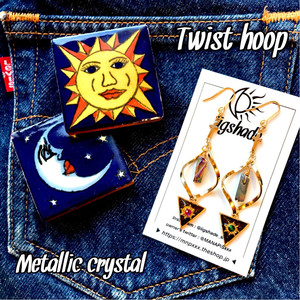 【No.1180】Twist hoop✴︎metallic crystal