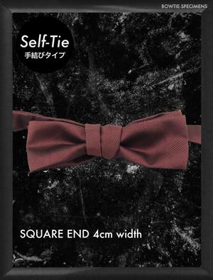 復刻版 スクエアエンド 4センチ幅 (エンジ) 手結び型 蝶ネクタイ〈ブランド メンズ 結婚式 ボウタイ 自分で 結ぶタイプ〉
