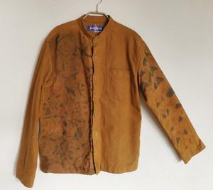 メンズ スタンドカラーフランネルシャツ ロードバイクとマウンテン柄キャメルブラウン色 SHI-0013