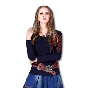 袖刺繍 カットソー ネイビー Z070