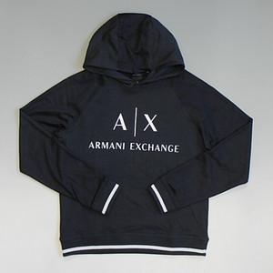 ARMANI EXCHANGE アルマーニ エクスチェンジ クラシックロゴプリント スウェットパーカ− ストレッチ ダークネイビー