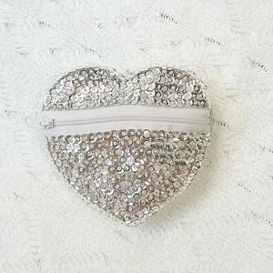 Jewelry スパンコールハートポーチ シャンパンシルバー
