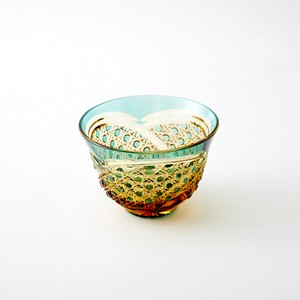 江戸切子 伝統工芸 琥珀色緑被せクリスタルガラス 冷茶グラス 結婚祝 海外土産 退職祝 記念品 誕生日プレゼント
