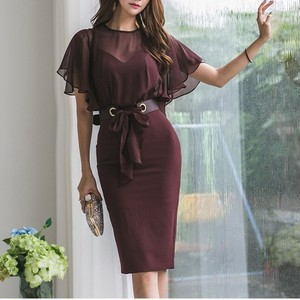 〈即納〉2clcor タイトシルエット スリット ワンピース ベルト付属 お呼ばれドレス パーティ―ドレス