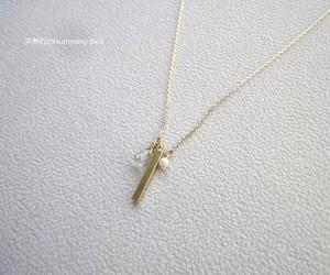 天然石のネックレス■繊細チェーン×マットゴールド・カラム