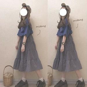 【ボトムス】日系春秋キュートレトロ学園風ファッションハイウエストスカート