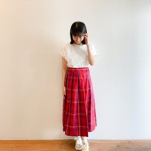 C-21681 Linen Tartan Tuck Skirt