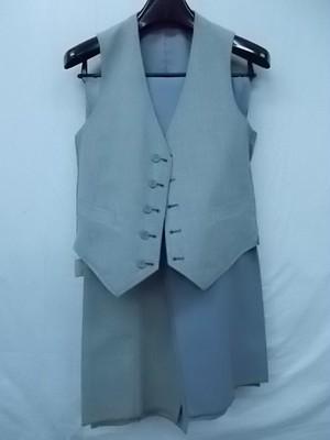 タグ付新古品 メンズ リバーシブル スーツベスト ノータックスラックス2本セット 裾未処理 グレー系無地&チェック Y4サイズ