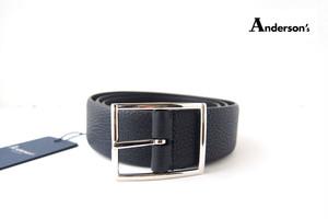 アンダーソンズ|Anderson's|スコッチグレインレザーリバーシブル ベルト|M|ネイビー