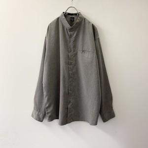 POINT X バンドカラーシャツ グレー ポリエステル size L メンズ 古着