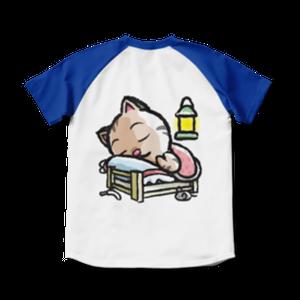 <ラグランTシャツ ホワイト×ロイヤルブルー>両面印刷 おやすみーちゃん