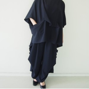 濃紺/ギャザードレープ ワイドパンツ/ミディアム・ロング