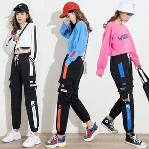 【ボトムス】ファッションレギュラー丈切り替えハイウエストカジュアルパンツ36195108