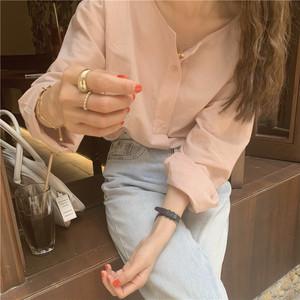 ハーフボタンラフピンクシャツ S4484