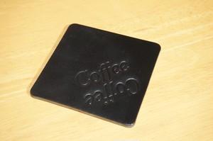 レザーコースター 刻印(Coffee Coffee)デザイン2(ブラック)