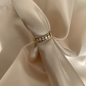 【14K-3-5】14K gold white stone ring