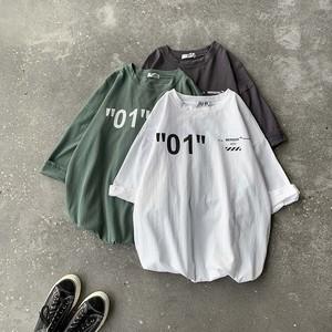 レトロプリントカジュアルトレンドカップルシンプル着回し力抜群7分袖Tシャツ
