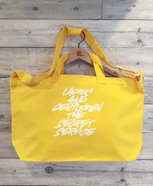 Ladies and Gentlemen / The Secret Service:Typography LOGO  / CANARIA YELLOW BODY / WHITE PRINT : DBKLAGTS-BAG / 2WAY SHOULDER BOSTON