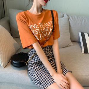 【セットアップ】新作韓国風ゆったりプリントTシャツ+チェック柄ハイウエストスカート2点セット