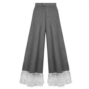 Wool Tassel Hem Palazzo / Grey