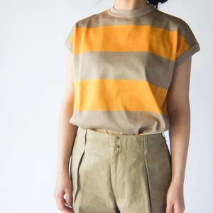 HAVERSACK - ボーダーノースリーブシャツ - Yellow×Beige