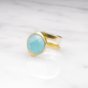 SINGLE STONE WAVE RING GOLD 002