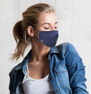 特注リベット付きデニム×シルク コラボレーションマスク
