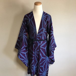 Vintage Long HAORI Silk deep purple × pattern of psychic