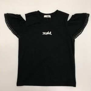 x-girl エックスガール 9211203-46  肩あきレースTシャツ
