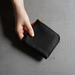 L zip grain leather wallet