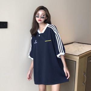 【トップス】夏新作韓国風ルーズ配色シンプルTシャツ