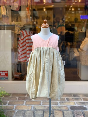 KIDS:frankygrow/V-NECK DRESS DYED:PINK-BEIGE(S/90,M/110,L/130cm)