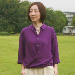 BL-213テンセルローンkotori 刺繍8分袖シャツ