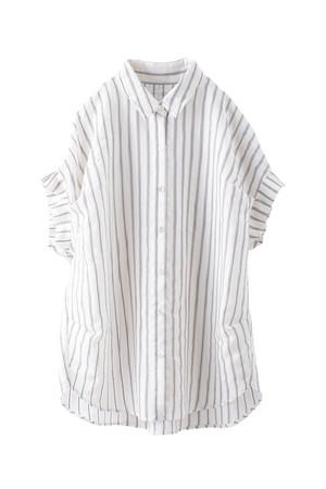 シアーストライプタックスリーブシャツ  <オフ>