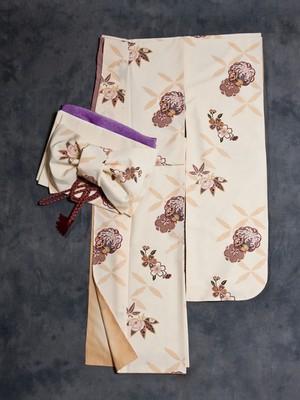【振袖】<レンタル> クリームイエロー 花模様