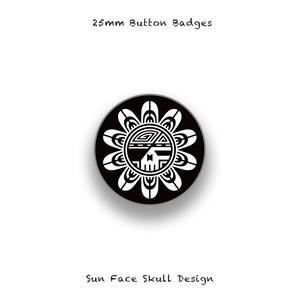 25mm Button Badges / Sun Face Skull Design 001