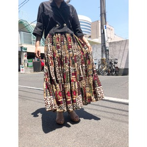brown pattern cotton flare skirt[B2131]