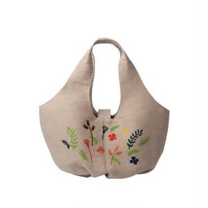 【People Tree】ショルダーバック ジュートフラワー手刺繍ラウンドバッグ