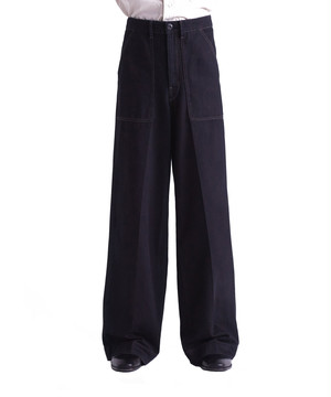 LEMAIRE WIDE LEG PANTS Black M 201 PA148 LD044