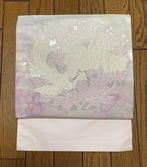 帯 九寸名古屋 白い花と不死鳥 (中古・美品)