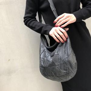 80's Black leather patchwork bag