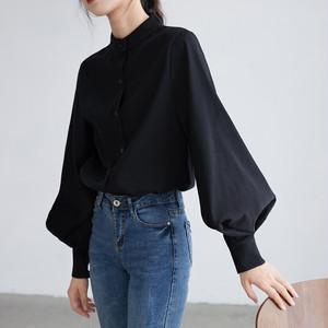 ランタンスリーブスタンドカラーシャツ【lantern sleeve stand color shirt】