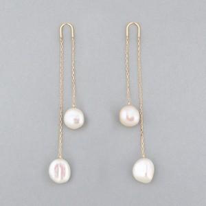 Keshi pearl long pierce