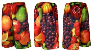 "Graphic Mesh Basket Ball Pant ""FRUITS"""