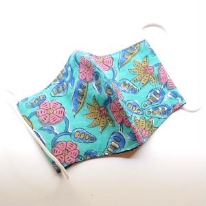 布マスク カバー   大人サイズ  オリジナルクリエイター作品 花柄 ブルー地にピンク