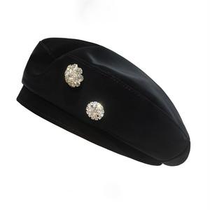 全6色ビジューフェイクレザーベレー帽
