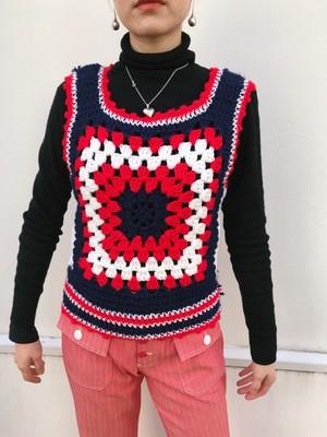 70s handmade tricolore color granny knit vest ( ヴィンテージ ハンドメイド トリコロール グラニー ニット ベスト )