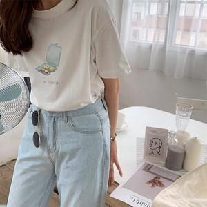カジュアル 半袖 Tシャツ レッド ホワイト in 30min