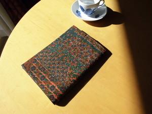小花柄更紗小紋着物から絹のA5サイズブックカバー